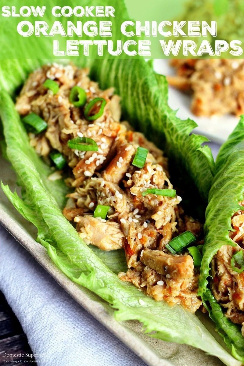 Slow Cooker Orange Chicken Lettuce Wraps