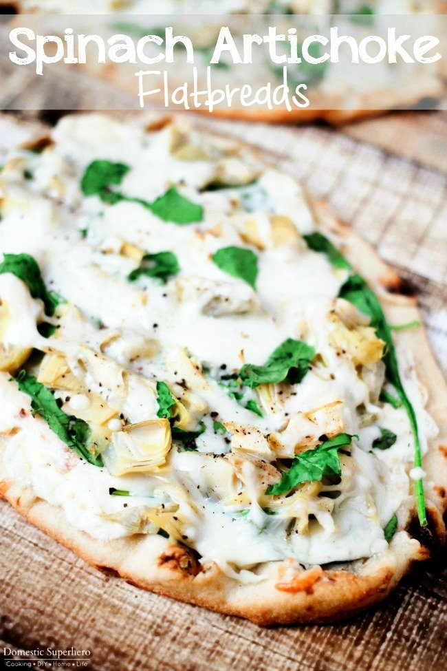 Spinach Artichoke Flatbreads - Fresh spinach and delicious artichokes with creamy cheeses makes the perfect quick weeknight meal!