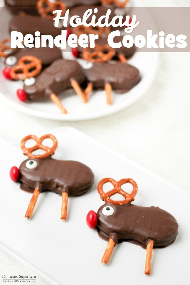 Holiday Reindeer Cookies are easy no-bake cookies that the whole family will love! They're fun to make, and perfect for parties and cookie exchanges!