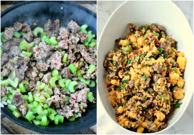 Holiday Sausage Cornbread Stuffing is the perfect holiday side dish!