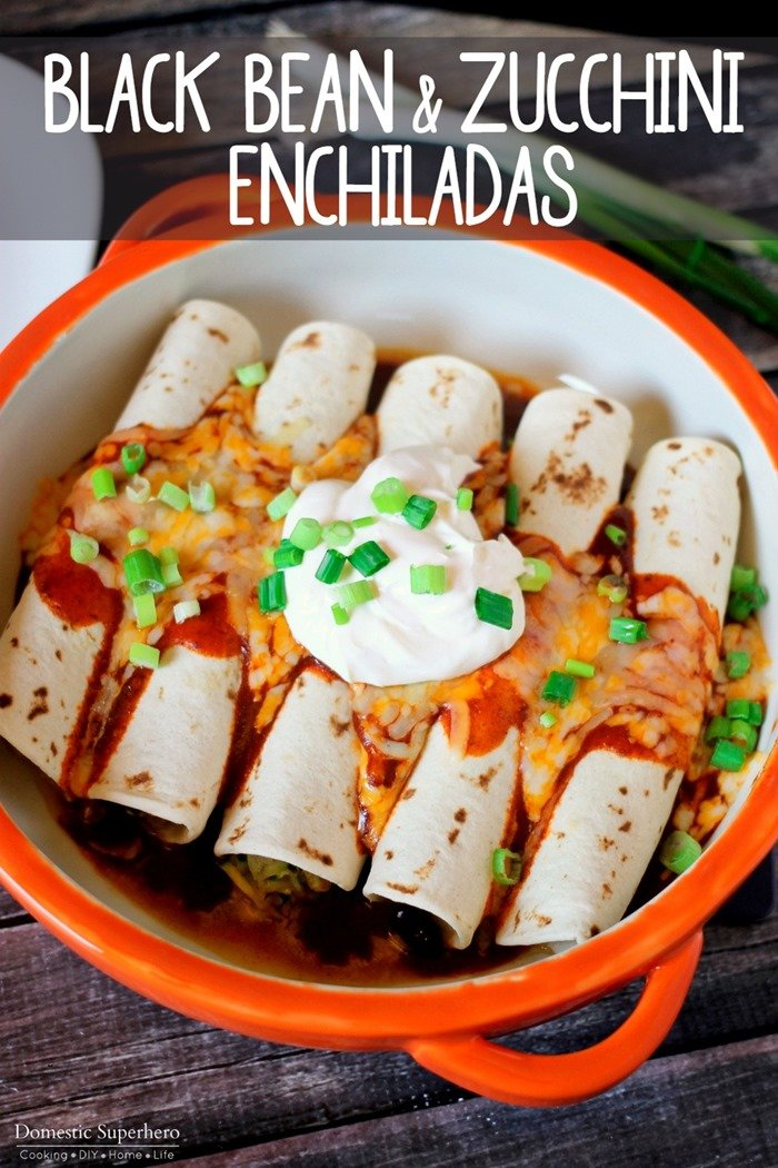 Black Bean Zucchini Enchiladas are filled with healthy hearty ingredients and come together in 30 minutes! They're the perfect dinner!