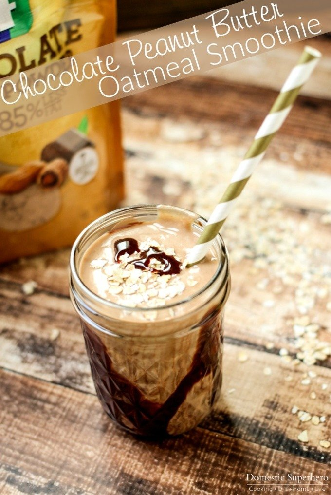 Chocolate Peanut Butter Oatmeal Smoothie - a delicious, easy, and majorly nutritious 'treat'!