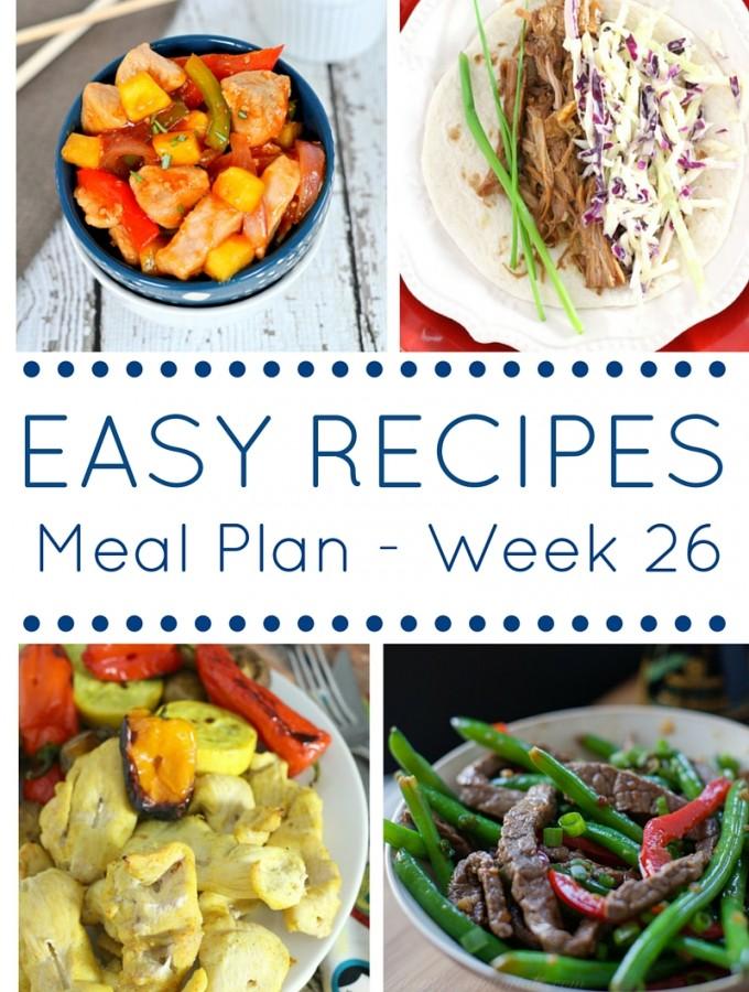 Easy Dinner Recipes Meal Plan – Week 26