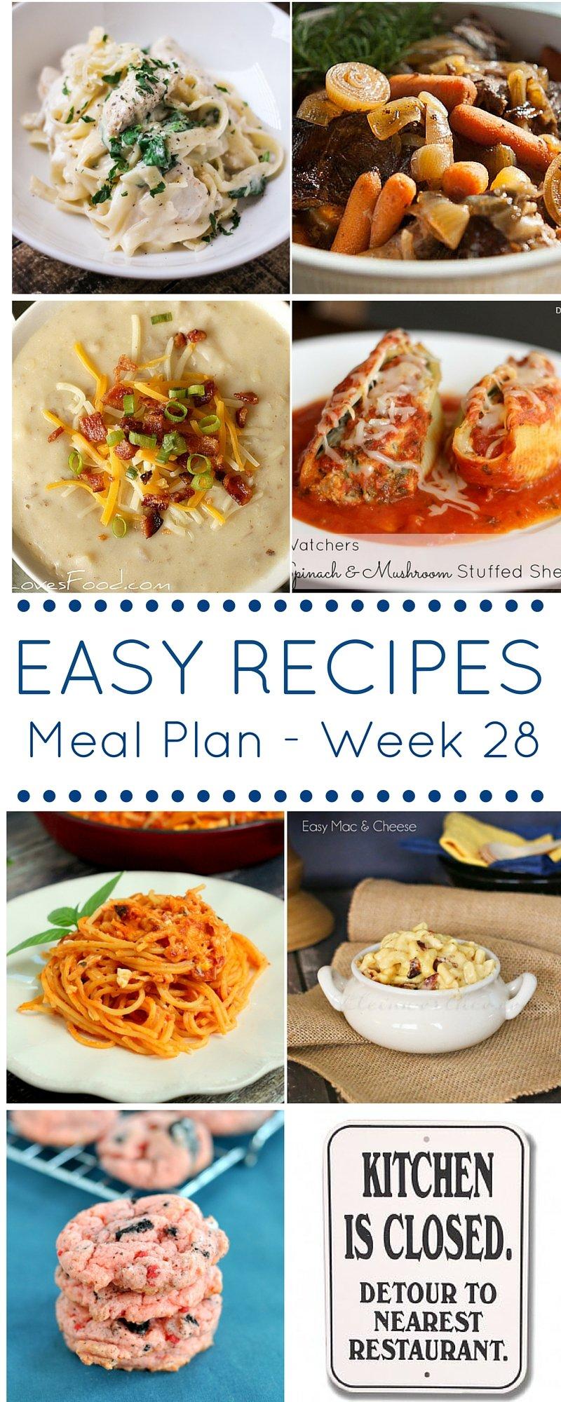 Meal Plan Week 28 Pinterest