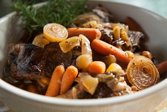 Slow Cooker Pot Roast with Balsamic Caramelized Onions by A Southern Fairy Tale