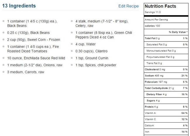 vegetairan tortilla soup nutrition
