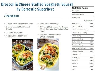 Broccoli & Cheese Stuffed Spaghetti Squash nutritional value