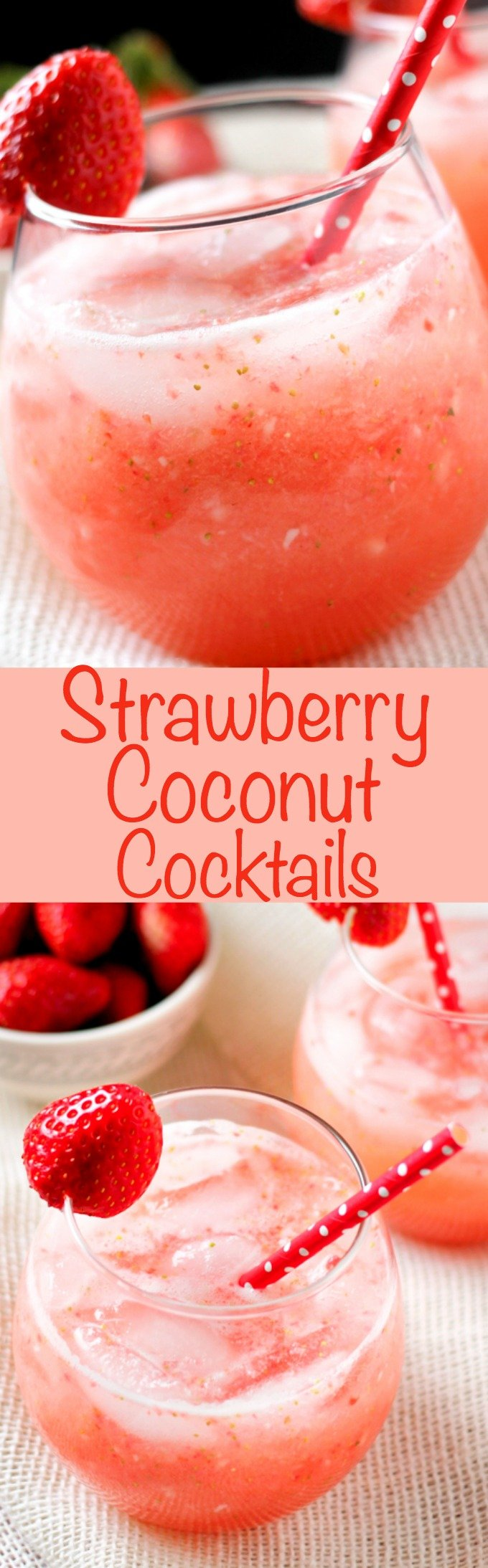 Strawberry Coconut Cocktail is the perfect refreshing cocktail! It's sweet and coconut-y! Only 4 ingredients and super easy to make!