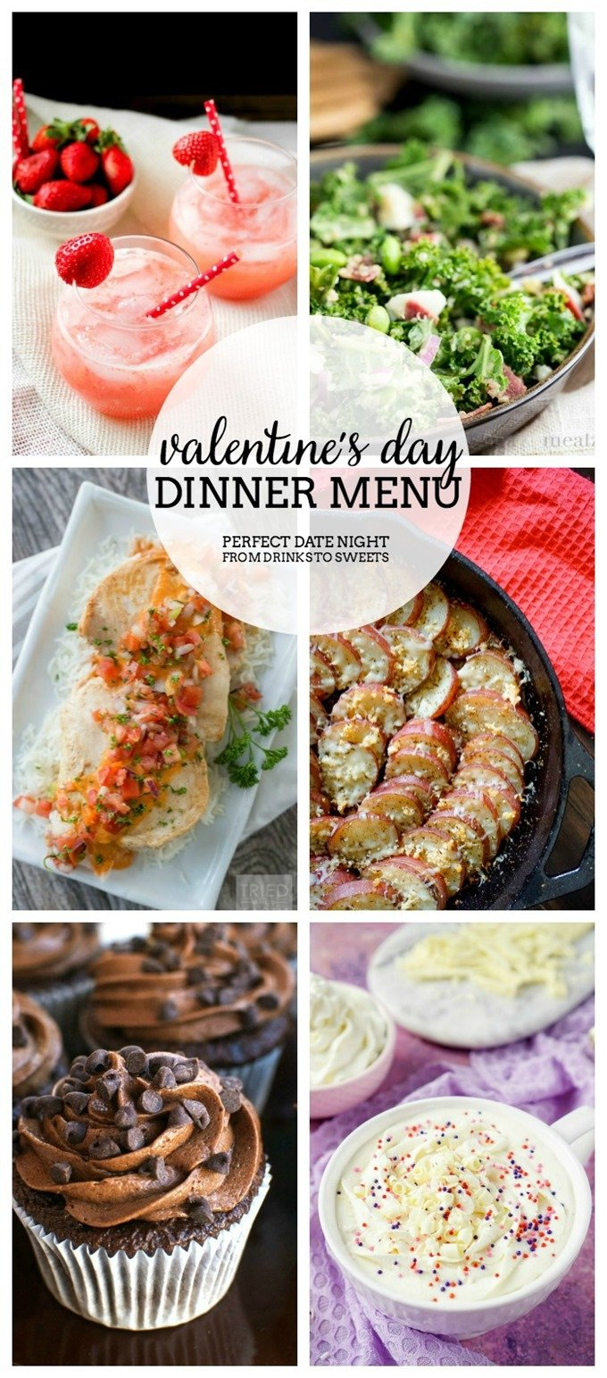Valentine's Day Dinner Menu Collage PIN