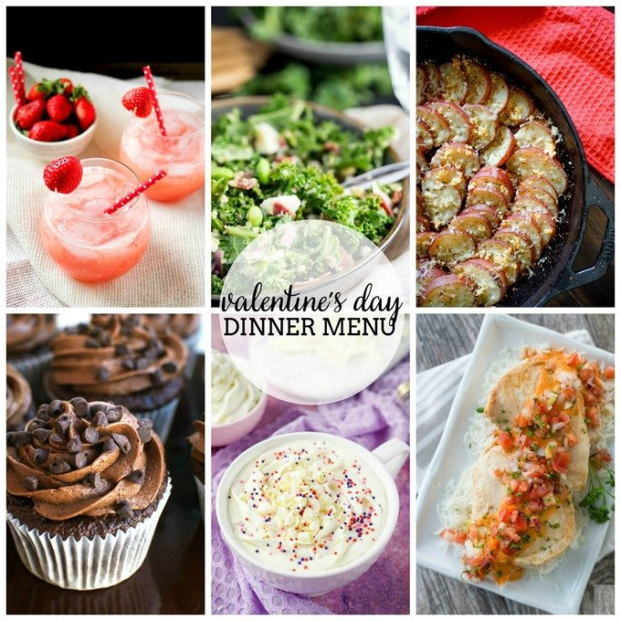 Valentine's Day Dinner Menu Collage SQR