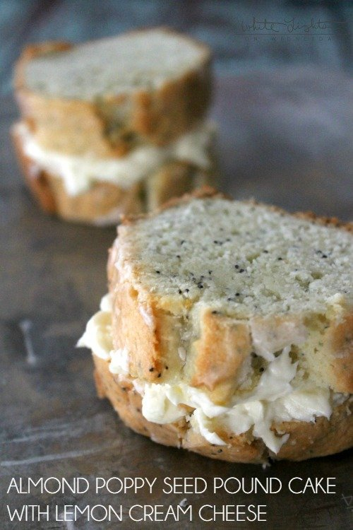 Almond Poppy Seed Pound Cake with Lemon Cream Cheese
