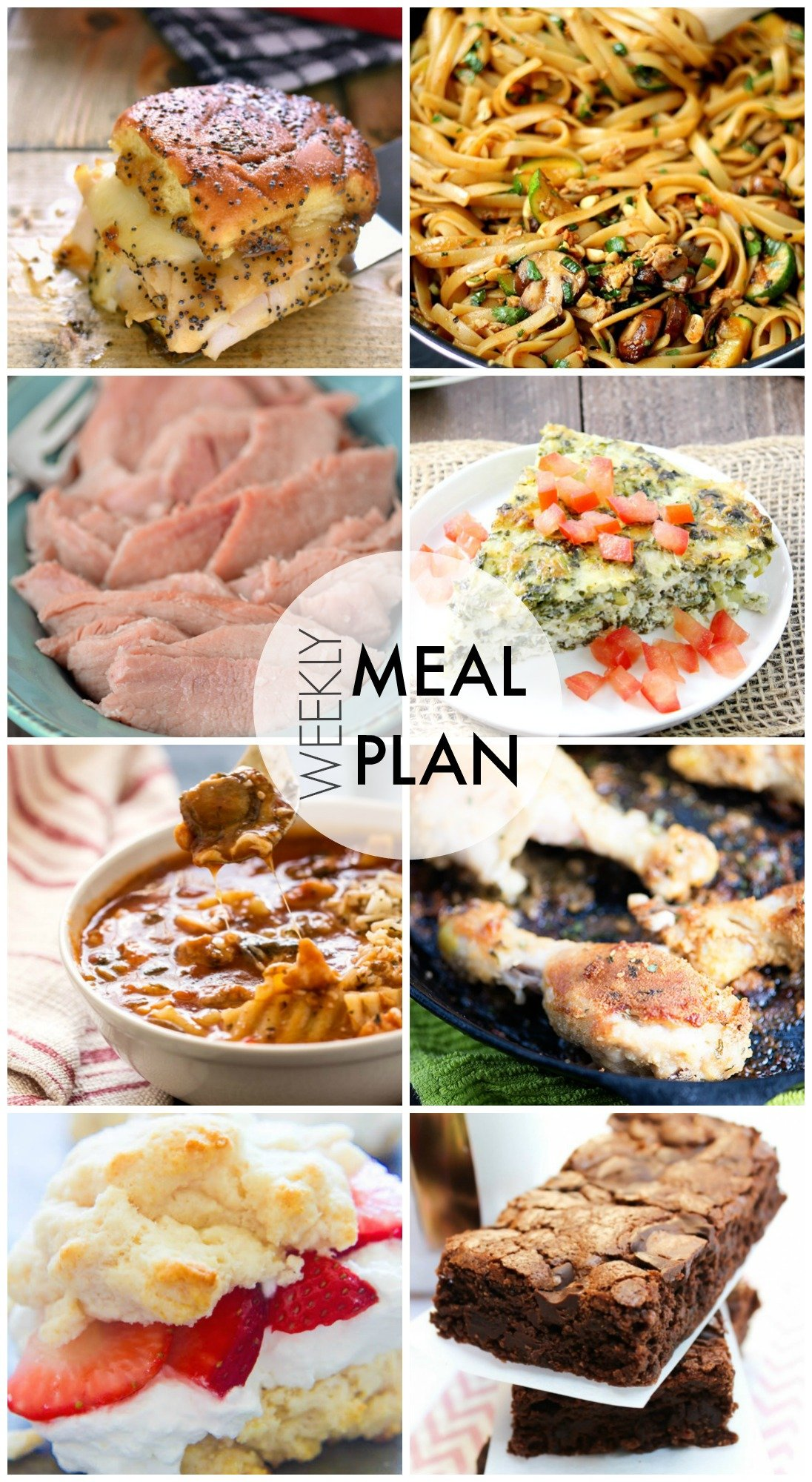 Easy Meal Plan - dinner recipes and dessert, too! This makes meal planning for the week a cinch!