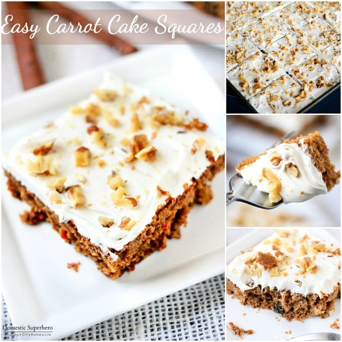 Easy Carrot Cake Squares are the full of fresh carrots and topped with delicious cream cheese frosting and walnuts!