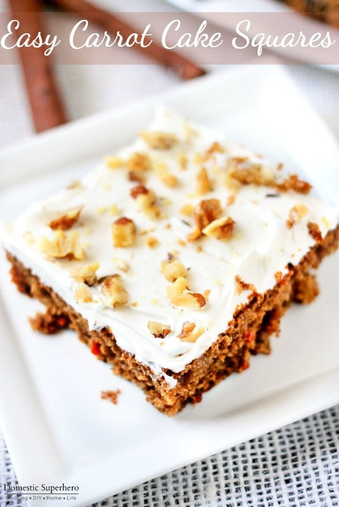 Easy Carrot Cake Squares Are The Full Of Fresh Carrots And Topped With Delicious Cream Cheese Frosting Walnuts