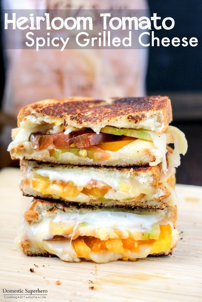 Heirloom Tomato Spicy Grilled Cheese is the perfect ooey-gooey sandwich!