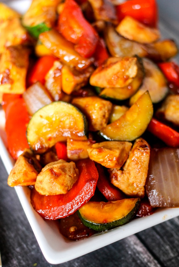 Sweet and Spicy Chicken Stir Fry is a blend of fresh vegetables, chicken and a delicious sweet and spicy sauce! Only takes 20 minutes to cook so is the perfect busy night meal!