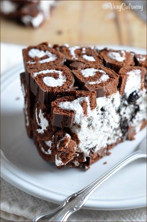 Swiss Roll Over Ice Cream Cake