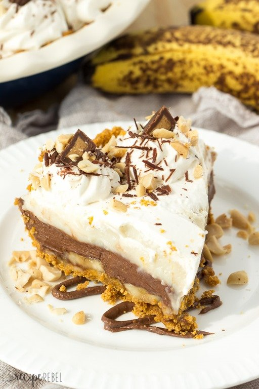 No Bake Reese Peanut Butter Chocolate Banana Cream Pie by The Recipe ...