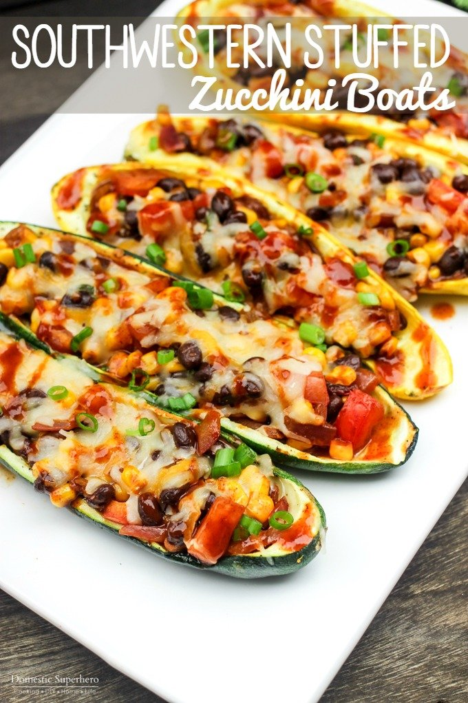 Southwestern Stuffed Zucchini Boats • Domestic Superhero