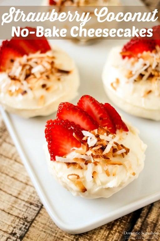Strawberry Coconut No-Bake Cheesecakes