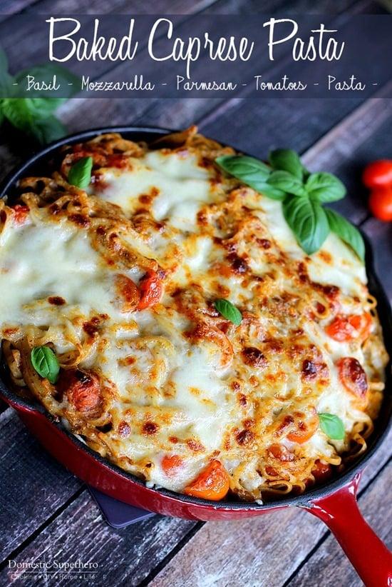 Caprese Pasta - Basil, Tomatoes, Mozzarella Drenched Pasta (6)