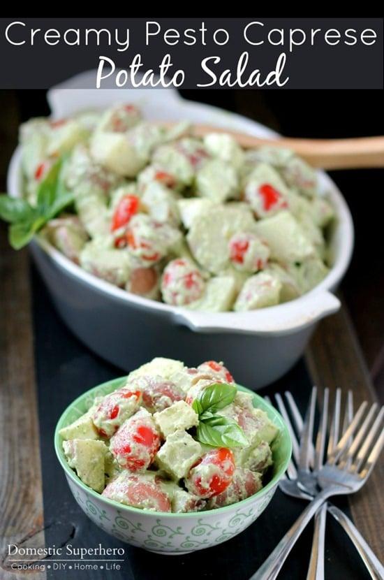 Creamy Pesto Caprese Potato Salad