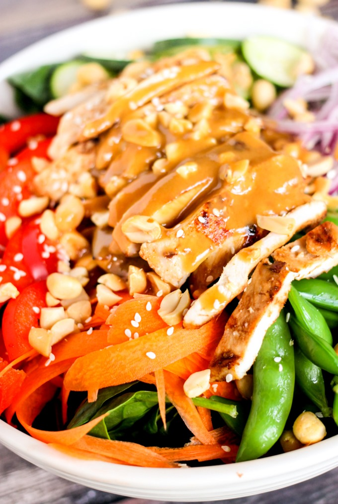 This Crunchy Peanut Chicken Salad is filled with delicious vegetables and mouthwatering marinated chicken. Perfect for any dinner, but especially when you are trying to eat on the lighter side!
