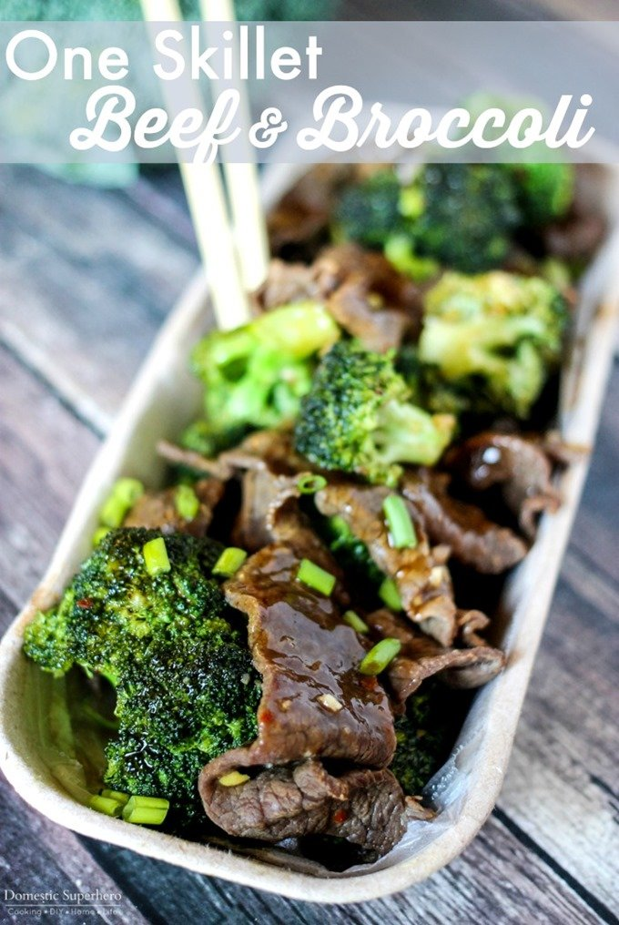 This One Skillet Beef & Broccoli is a delicious healthy take on the classic popular take-out dish. The best part? It only takes 20 minutes to cook up!