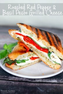 Roasted Red Pepper & Basil Pesto Grilled Cheese is the perfect summer sandwich!