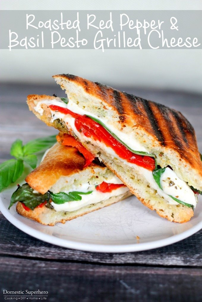Roasted Red Pepper & Basil Pesto Grilled Cheese is the perfect summer ...