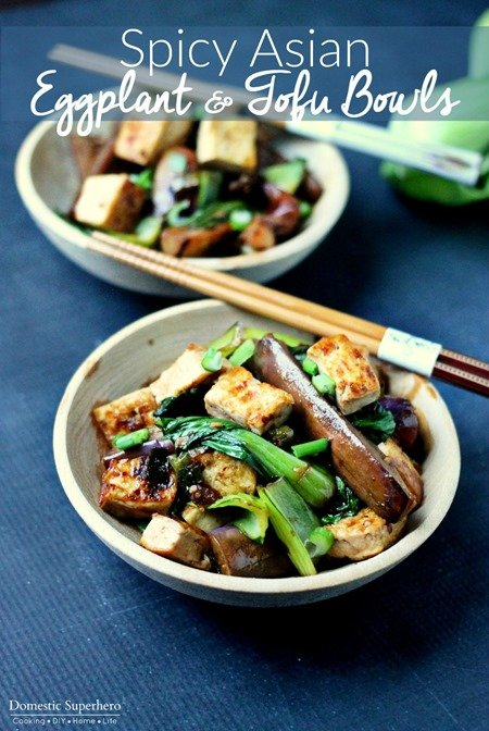 Spicy Asian Eggplant & Tofu Bowls