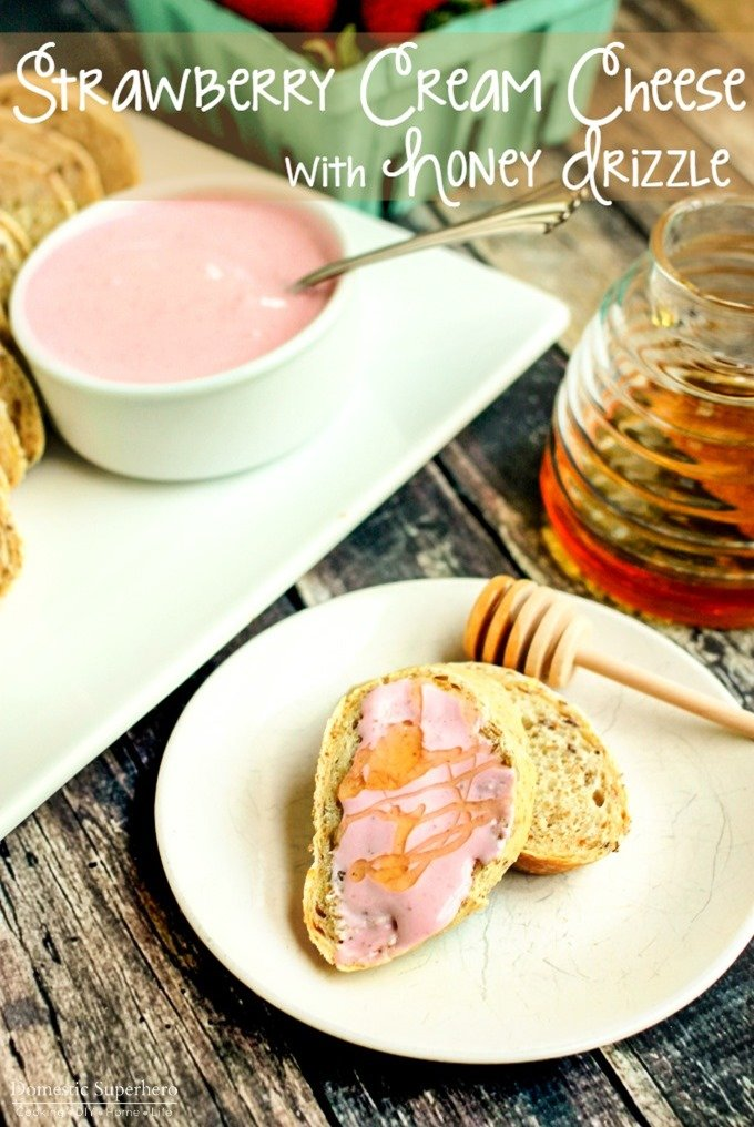 Strawberry Cream Cheese with Honey Drizzle is the perfect blend of sweet and tangy! It is perfect for breakfast, a party appetizer, or an after dinner snack!