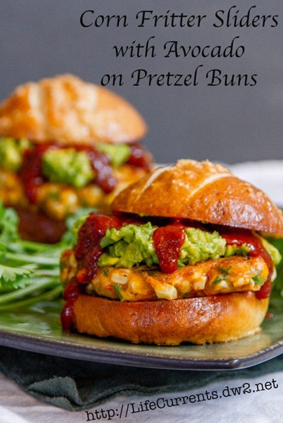 Corn Fritter Sliders with Avocado on Pretzel Buns