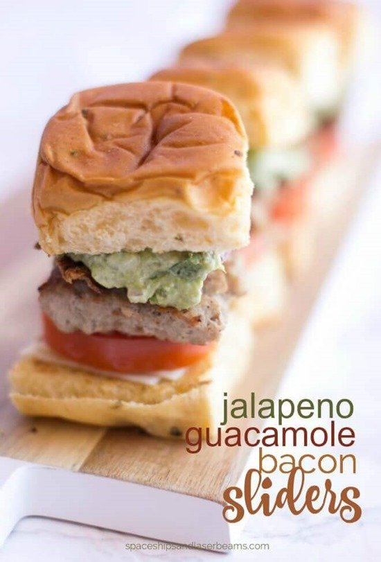 Jalapeno Guacamole Bacon Sliders