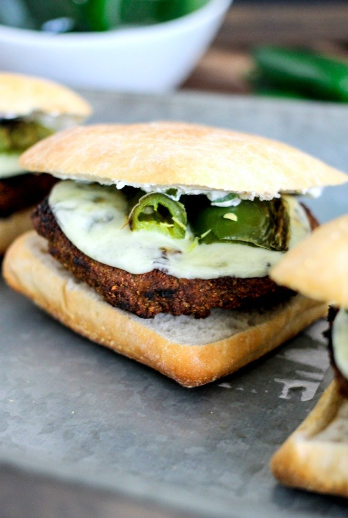 Jalapeno Popper Stuffed Black Bean Burgers are deliciously cheesy, spicy hot, and protein packed black bean burgers! Perfect for the meatless grill option!