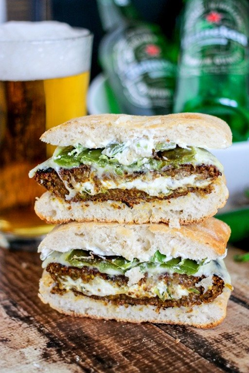 Popper Stuffed Black Bean Burgers are deliciously cheesy, spicy hot ...