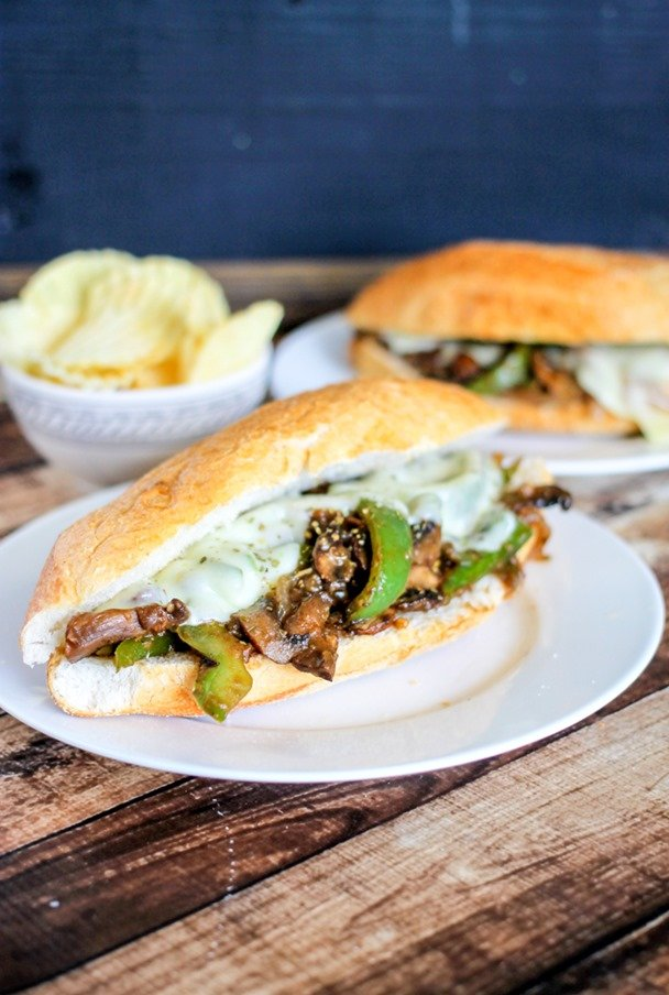 Portobello Philly Cheese Steaks are stuffed with mushrooms, peppers, and onions then topped with provolone cheese. Super delicious and done in 20 minutes!