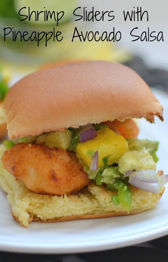 Shrimp Sliders with Pineapple Avocado Salsa