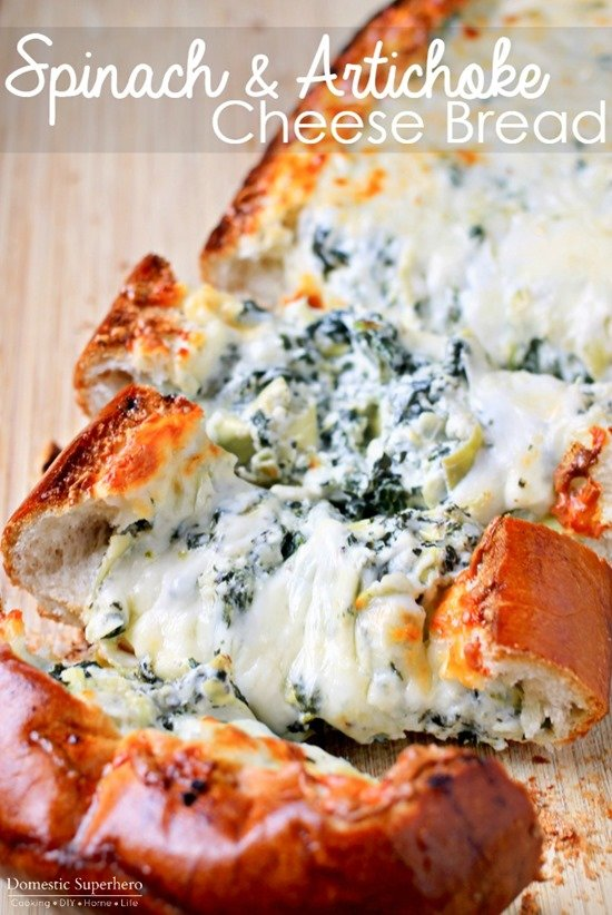 Spinach Artichoke Stuffed Cheese Bread - 15+ Game Day Snacks @ yummyhealthyeasy.com