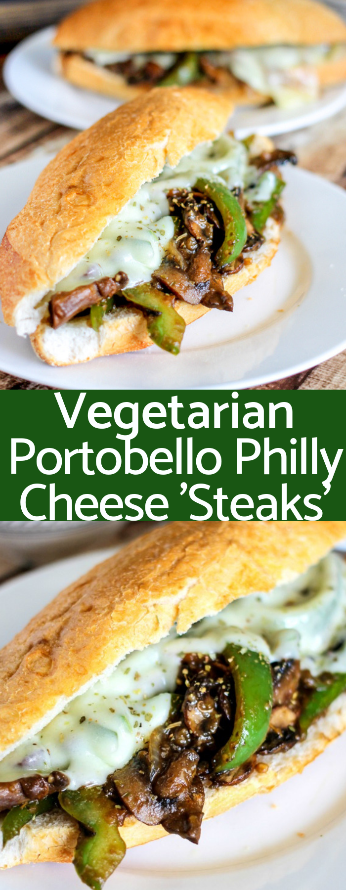 Vegetarian Portobello Philly Cheese Steaks are stuffed with mushrooms, peppers, and onions then topped with provolone cheese. Ready in 20 minutes!
