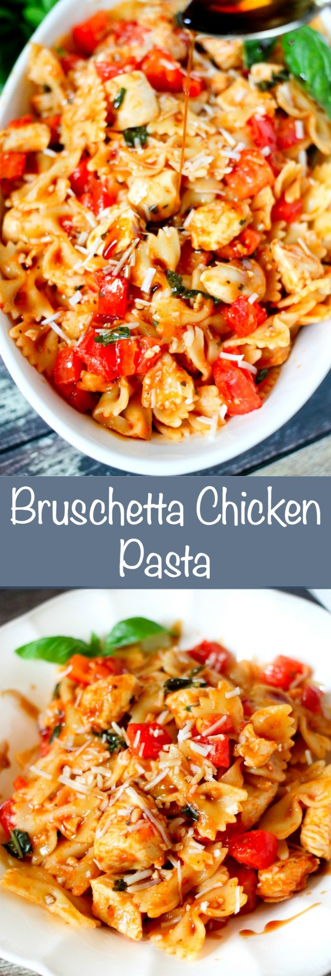 Bruschetta chicken pasta is loaded with fresh tomatoes, basil, and juicy chicken. Adding a secret ingredient at the end, takes this dish to the next level!