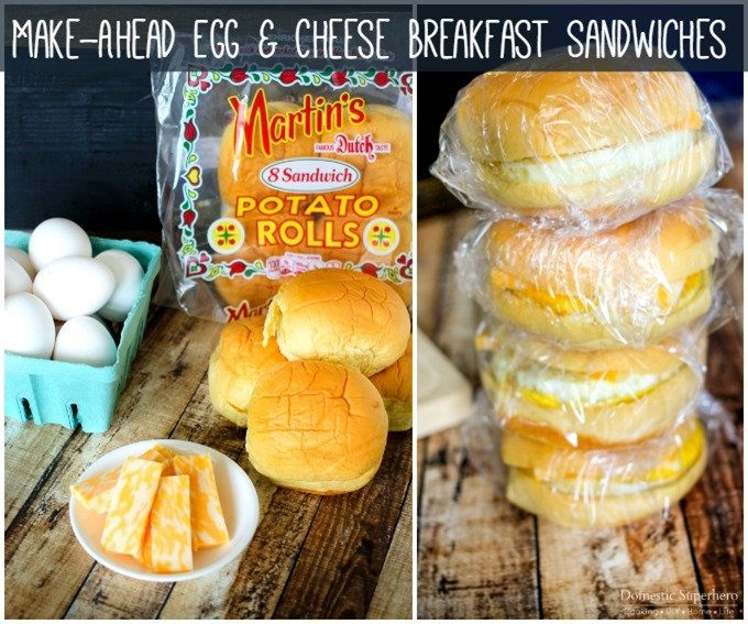 Easy Make-Ahead Egg & Cheese Breakfast Sandwiches - perfect for freezing and warming up in the morning! My kids LOVE these!