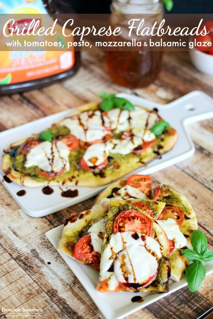 Grilled Caprese Flatbreads with Tomatoes, Pesto, Mozzarella & Balsamic Glaze