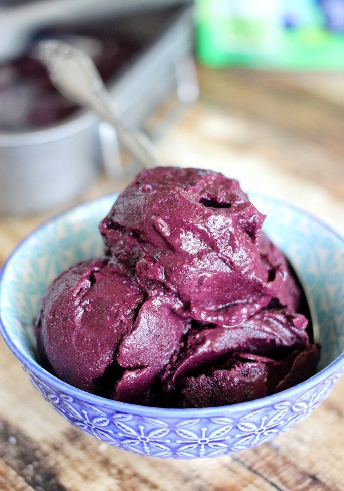 This Blueberry Sorbet has only two ingredients which makes it super easy to make! Even with just two ingredients, it's super juicy and delicious!
