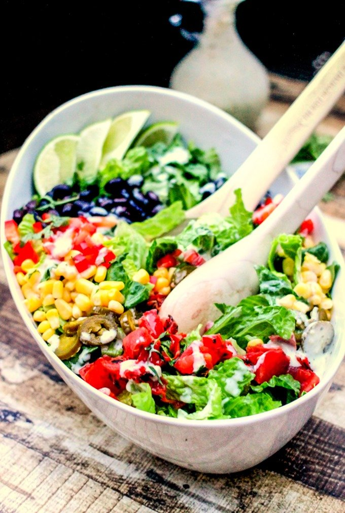 Southwestern Salad with Jalapeno Ranch is mouthwatering delicious! You probably have most of these ingredients at home!