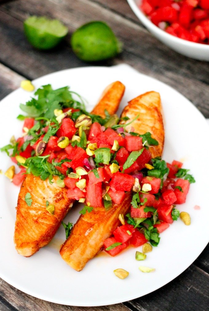 This Crispy Salmon & Watermelon Salsa is so flavorful and delicious! I've teamed up with Terra's Kitchen to bring you an awesome $30 off coupon code - just enter DOMESTIC30 at checkout, and you can try out their easy meal service too! #TKlife ad
