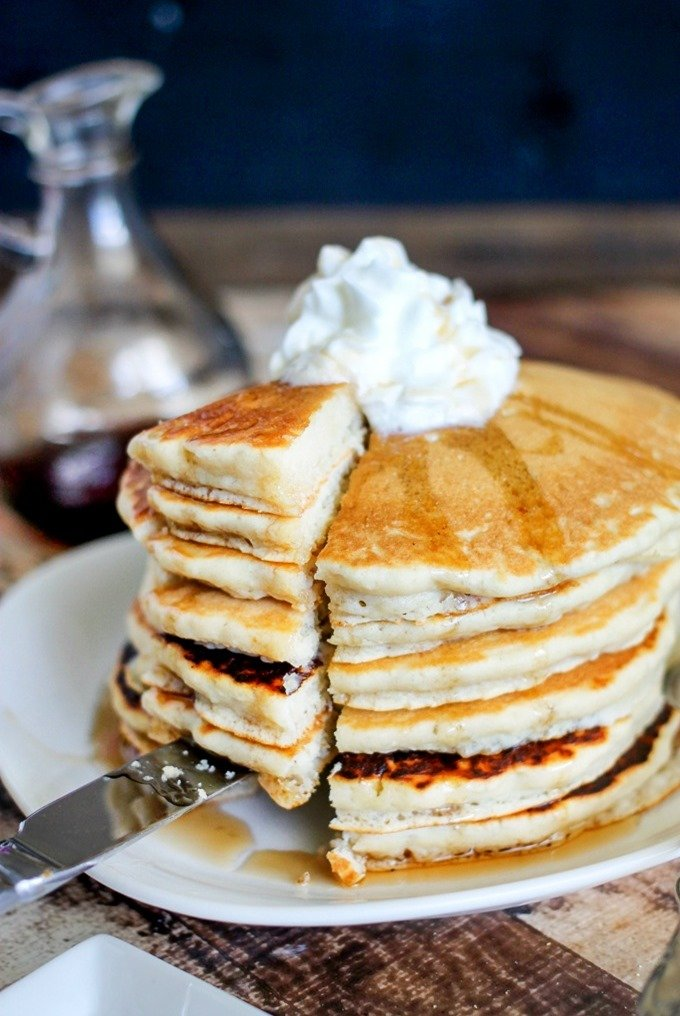 Vanilla Cream Pancakes are light and fluffy with some sneaky added protein! Only minutes to whip up, they're the perfect breakfast!