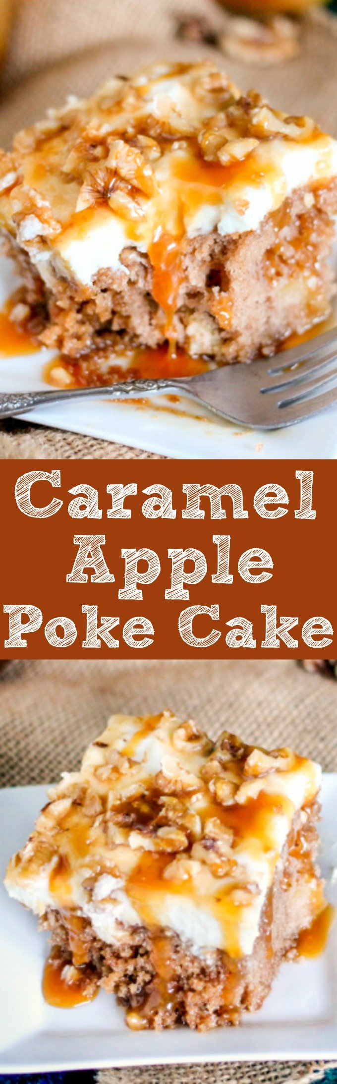Caramel Apple Poke Cake is packed full of apples and then smothered in whipped cream and caramel. It's the easiest most delicious fall cake!