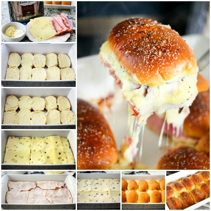 Easy Baked Turkey Ham Sliders are the perfect fun appetizer! Layers of ham, turkey, and cheese between a buttery cheesy slider bun is the perfect combo!!