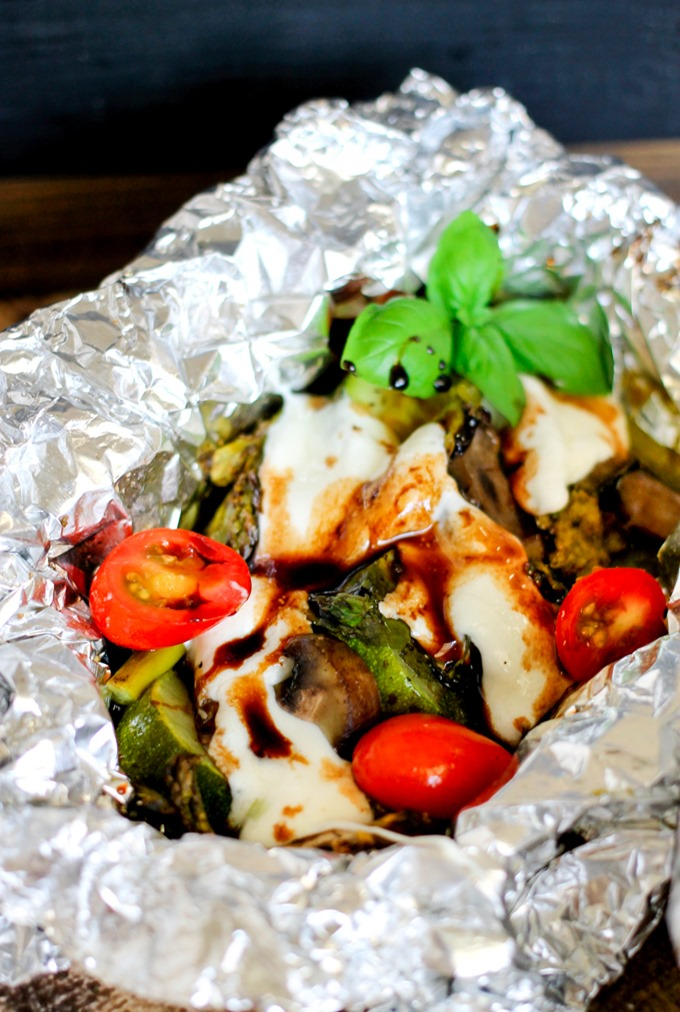 Vegetable Caprese Foil Grill Packs - fresh vegetables topped with fresh mozzarella and a delicious balsamic glaze - healthy and so delicious!